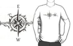 """Compass with arrow"" by #Beatrizxe in #Redbubble A compass is pierced by an arrow #compass #Windrose #arrow #tattoo #illustration #shadow #draw #artwork #art #artist #creative #inspiration #ink #design #tattoo #tattoodesign #creativity #lineart Available is several models of t-shirt and hoodies in various colors."