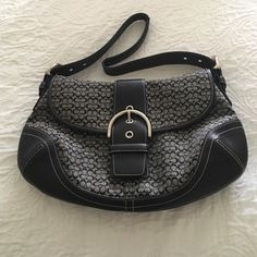 """Coach Purse Authentic Coach monogram shoulder purse. Great condition. Barely used. Comes with dust bag. 13"""" by 8"""" Price is negotiable! Just make me an offer. :) Coach Bags Shoulder Bags"""