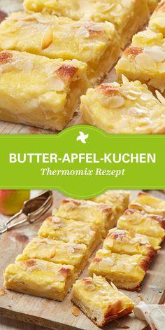 Leckerer und saftiger Butter-Apfel-Kuchen vom Blech. Selbstgemachter Kuchen nach einem Rezept von Thermomix ®. Rezept für Apfelkuchen zu finden auf www.cookidoo.de.