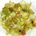 Czech Cabbage and Bacon----Cooked cabbage with bacon, onion, celery, green capsicum and vinegar. Cabbage And Bacon, Cooked Cabbage, Cabbage Recipes, Czech Recipes, Ethnic Recipes, Lard, Vegetable Side Dishes, Mediterranean Recipes, International Recipes