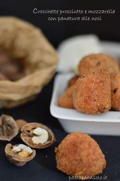 crocchette prosciutto e mozzarella con panatura alle noci