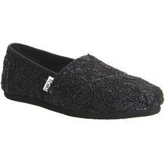 Toms Seasonal Classic Slip Ons ($64) ❤ liked on Polyvore featuring shoes, flats, black crochet glitter, women, slip on shoes, glitter flats, espadrilles shoes, black slip on shoes and toms espadrilles