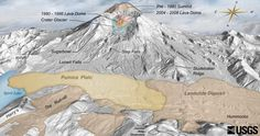 Digital Elevation Map of Mount St. Helens with annotation of topography and deposits from 1980 - (Click image to view full size. Map Quilt, Saint Helens, Rainier National Park, Plate Tectonics, Treasure Maps, Earth Science, Geology, Volcanoes, Activities