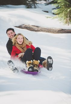 Snowy escape, Tahoe sledding, playful engagement shoot // Annie X Photographie