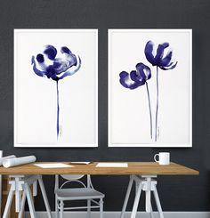 Poppy print Set of 2 Dark purple Botanical print Abstract flower watercolor painting Indigo blue Bedroom decor Spring Minimalist wall decor
