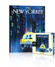 """A newlywed couple look happily at each other in the back of a New York City taxi as they drive off into the city, tin cans tied to the back bumper trailing behind.New Yorker Cover by Artist Lou Romano, originally published on June 26th, 2007100 Piece Jigsaw PuzzleFinished Puzzle Size: 7""""x9""""Linen Style Finish to reduce glareMade in USARecommended Age: 5+ Years"""