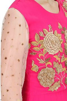 BHUMIKA SHARMA Pink floral jaal embroidered anarkali set available only at Pernia's Pop-Up Shop.