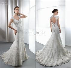 Wholesale Mermaid Wedding Dresses - Buy Latest Hot Elegant Bridal Gown White Lace Beaded Appliques Mermaid V Neck Cap Sleeves Backless Court Train Crystals Wedding Dresses 2014 New, $187.0 | DHgate
