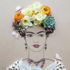 Frida Kahlo flower print | Frida Kahlo print | Sister Golden shop