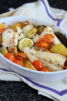 "Recipe: Low-Calorie Fish on Friday - Mediterranean Wild Haddock Gratin calories) - This has become an almost weekly treat for a ""fasting"" day diet). Healthy Recipes, Fish Recipes, Seafood Recipes, Cooking Recipes, Fish Dishes, Seafood Dishes, Haddock Recipes, Mediterranean Diet Recipes, Food 52"