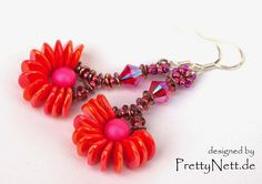 Beaded earrings with Rose Petal beads - Free PDF  #Seed #Bead #Tutorials