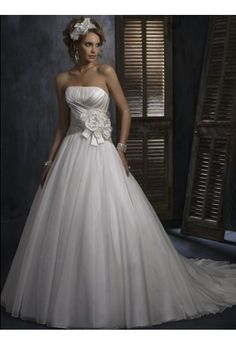 A-Linie aus Organza Ärmellos mit Kapelle-Schleppe Schnürung Weiß Traume Trägerlose Brautkleider #USAHS402