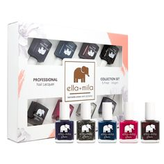 ella+mila Nail Polish, Desire Collection - (8-Pack). Wine Me Up, Black Tie Affair, Lip Stain, Bite Me, Heart Breaker, Mauve Over, Sway With Me, BlindFold Me. 7-Free products do not contain: Formaldehyde, Toluene, DiButyl Phthalate (DBP), Formaldehyde Resin, Camphor. Vegan & Animal cruelty-free. Made in the USA. ella+mila polishes are certified by PETA!.