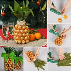 Wonderful DIY Pineapple Shaped Gift With Chocolate and Champagne | WonderfulDIY.com