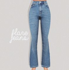 Pure Sims – Flare jeans for The Sims 4