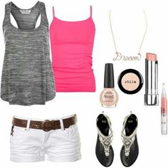 Head-turning Casual Outfit Ideas for Teenage Girls 2017 - Is there anyone who does not like the casual style? Of course not and it is almost impossible to find someone who says yes. Casual outfits are easy to. Cute Summer Outfits, Summer Wear, Spring Summer Fashion, Spring Outfits, Casual Outfits, Casual Summer, Summer Clothes, Summer Time, Pink Summer