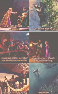 "From ""Blondie"" to ""Rapunzel"". I love you, Flynn Rider. Disney Pixar, Disney Rapunzel, Film Disney, Disney Animation, Disney And Dreamworks, Disney Magic, Tangled Rapunzel, Disney Characters, Humour Disney"