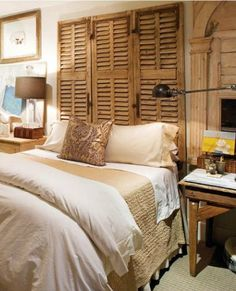 Great idea for a Headboard,,,shutters. love. it.