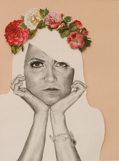 Pink Matter - Pencil portrait with floral collage