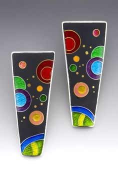 """Anna Tai Enamels, 24k gold, and fine silver. """"In my pieces, I like to explore color and the balance of extremes. Whether the design is abstract or realistic imagery, I emphasize the contrast between light and dark, opaque and transparent enamels, and textured and smooth surfaces.  I enjoy the precision, structure, and complex detail of the wire work in cloisonné, yet appreciate the changeability of the delicately shaded enamels which are built up layer by layer."""""""