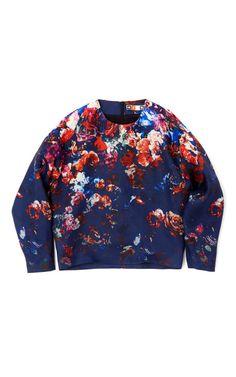 MSGM Floral Stamped Silk Gazar Top
