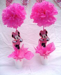 Arreglos de mesa de Minnie Mouse - Imagui Minie Mouse Party, Minnie Mouse 1st Birthday, Mini Mouse Baby Shower, Baby Mouse, Minnie Mouse Decorations, Birthday Decorations, Pink Minnie, Mickey Minnie Mouse, Daisy Duck Party