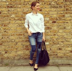 Crisp white shirt, patch jeans and pointed flats. Love.