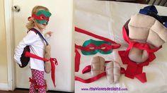 Disfraz de tortuga Ninja completo, caparazón y pechito tipo mochila con cinto, mascara y rodilleras :D My Violet  myvioletdesigns.com