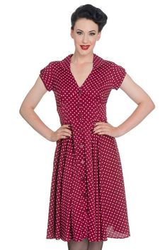 Harriet Raspberry Red 40's Style Dress by Hell Bunny