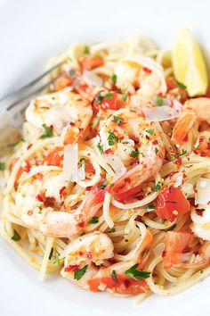 Spicy Shrimp Pasta - the easiest and best shrimp pasta with chili flakes, in a buttery and lemony garlic herb sauce, takes 20 mins! | rasamalaysia.com