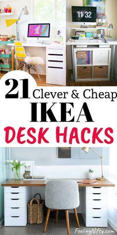 21 Awe-Inspiring Ikea Desk Hacks that ar. - 20 Awe-Inspiring Ikea Desk Hacks ideas that are Affordable and Easy. These cheap and easy DIY desks - Desk Hacks, Ikea Diy, Craft Room Desk, Room Desk, Craft Desk, Desk Organization Diy, Ikea, Ikea Desk Hack, Home Diy