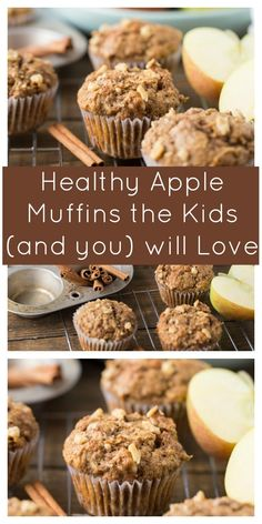 Healthy Snacks Made with whole wheat flour, coconut oil, apple sauce and maple syrup these Healthy Apple Muffins will be your new favorite fall snack. - Made with whole wheat flour, maple syrup and honeycrisp apples, these muffins are perfect for fall! Apple Dessert Recipes, Baby Food Recipes, Gourmet Recipes, Baking Recipes, Oat Flour Recipes, Health Drinks Recipes, Nutrition Drinks, Snacks Recipes, Pie Recipes