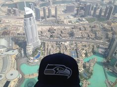 Reppin' the Hawks 12th man at the top of the Burj Khalifa