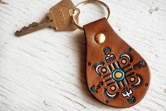Leather Keychain Native American designs Mandala от MesaDreams