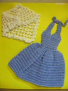 Barbie-Clothes-2-Piece-Handmade-Crochet-Blue-Dress-White-Shawl