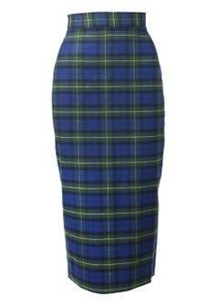 50s Pencil Skirt - Blue Tartan
