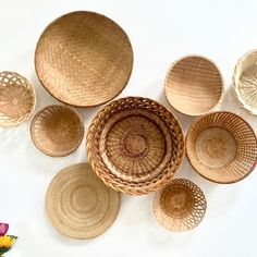 New vintage wall basket collection just listed in our shop today. Why not spoil yourself today Mom? Baskets On Wall, Wicker Baskets, Wall Basket, Plate Wall Decor, Plates On Wall, Boho Diy, Boho Decor, Bohemian, Basket Decoration