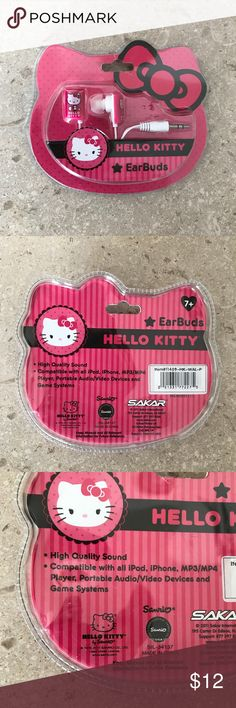 Hello Kitty Earbuds iPod iPhone MP3/MP4 Audio Vid Hello Kitty Earbuds In Plastic Package- NEW Colors Pink & White High Quality Sound Compatible with all iPod, iPhone, MP3/MP4 Player, Portable Audio/Video Devices and Game Systems Sakar for Sanrio Other