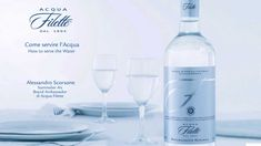 """ACQUA FILETTE: LUXURY WATER.  The bottle has luxurious and elegant shapes: the classic Bordeaux bottle is wrapped in a champagne satin label with an """"F"""" made of silver foil. The non-returnable glass and a cap save Acqua Filette from pollution, ensuring the highest quality."""