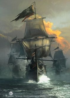 A pirate ship RP. So far there is only one ship. Ask me or send me a message to make your own ship. Pirate Art, Pirate Life, Pirate Ships, Pirate Flags, Fantasy World, Fantasy Art, Digital Art Illustration, Bateau Pirate, Old Sailing Ships