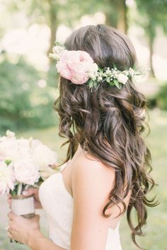 -Whimsical meets Rustic Garden Wedding in Canada Beautiful curls and a boho floral crown: www. Wedding Hair And Makeup, Bridal Hair, Hair Makeup, Hair Wedding, Bridal Beauty, Wedding Beauty, Bride Hairstyles, Down Hairstyles, Hair Inspiration