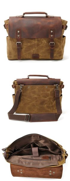 Handmade Waxed Canvas Leather Briefcase Messenger Bag Shoulder Bag Laptop Bag