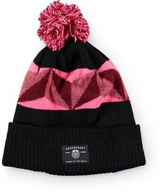 ee35fc87a53 Elevate your beanie game with a vibrant pink and red jacquard knit geo  print upper on