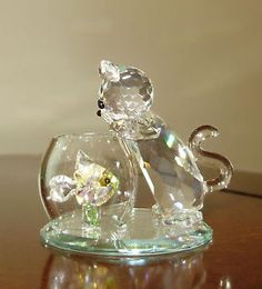 Swarovski Crystal Figurines | Swarovski Crystal World Figurine Curious Cat Retired Estate | eBay