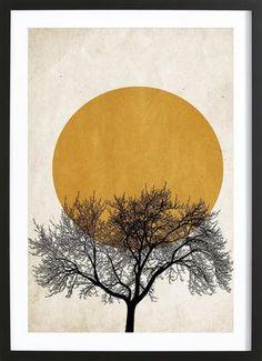 Wintermorgen - Kubistika - Poster in houten lijst