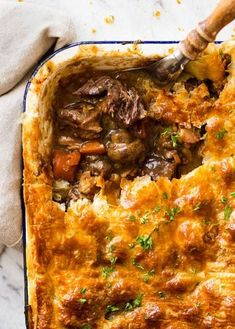 Fall apart, ultra tender chunks of beef, bursts of fresh mushroom smothered in the most incredible gravy and topped with flaky, golden puff pastry. My friends, this is not just another beef pie. This is an EPIC Chunky Beef and Mushroom Pie with a little Pie Recipes, Gourmet Recipes, Cooking Recipes, Healthy Recipes, Casserole Recipes, Meatloaf Recipes, Easy Cooking, Dinner Recipes, Cooking Fish