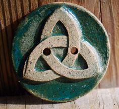 Celtic Trinity Button in Ceramic Stoneware Deep by Bigdogpots, $2.50