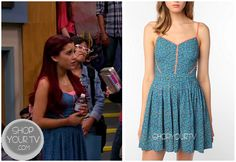 Cat Valentine (Ariana Grande) wears this blue printed dress with pink contrast piping in this week's episode of Victorious. It is the Cooperative Neon Piped Sundress. Buy it HERE for $29.99