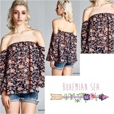 Effortlessly Perfect Boho Top Such a Beautiful off the shoulders boho inspired top! So perfect for the summer  Made in USA | 100% Polyester | Semi-Sheer | Color: Navy/Neon Coral Bohemian Sea Tops Blouses