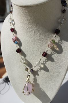 SALE - Purple Millefiori Beaded Short Necklace with Wired Wrapped Amethyst Gemstone Pendant $17